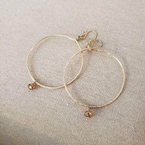 Artisan Gold Hammered Finish Topaz Hoop Earrings